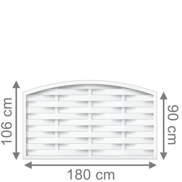 TraumGarten Sichtschutzzaun Longlife Romo Rundbogen weiß - 180 x 90 (106) cm