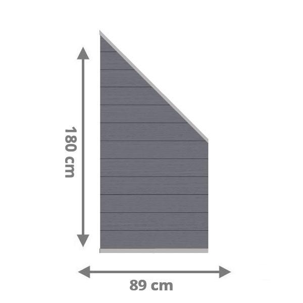 TraumGarten Sichtschutzzaun System WPC XL Anschluss Set anthrazit / silber - 89 x 183 auf 89 cm