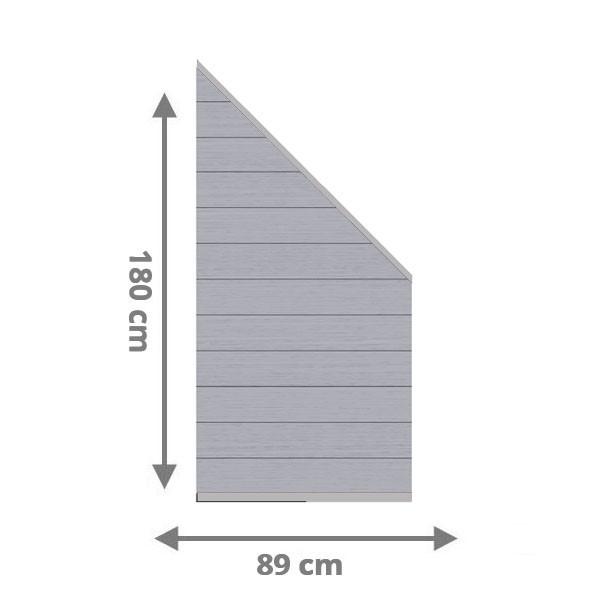 TraumGarten Sichtschutzzaun System WPC XL Anschluss Set grau / anthrazit - 89 x 183 auf 89 cm