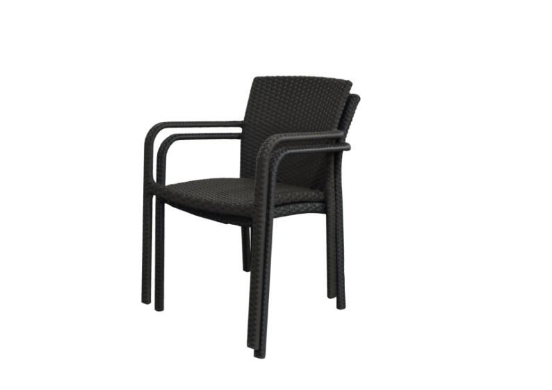 Rattan Stapelstuhl Malaga Gartensessel - schwarz - 4er-Set