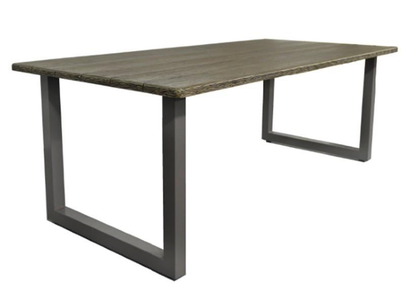 Restposten: 7-teiliges Gartenmöbel-Set - 6x Rattan Stapelstühle dunkelbraun + 2,10 m Tisch