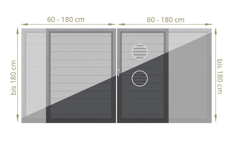 TraumGarten Doppeltor Maßanfertigung System Metall grau oder anthr. LxB 60 cm - 180 cm