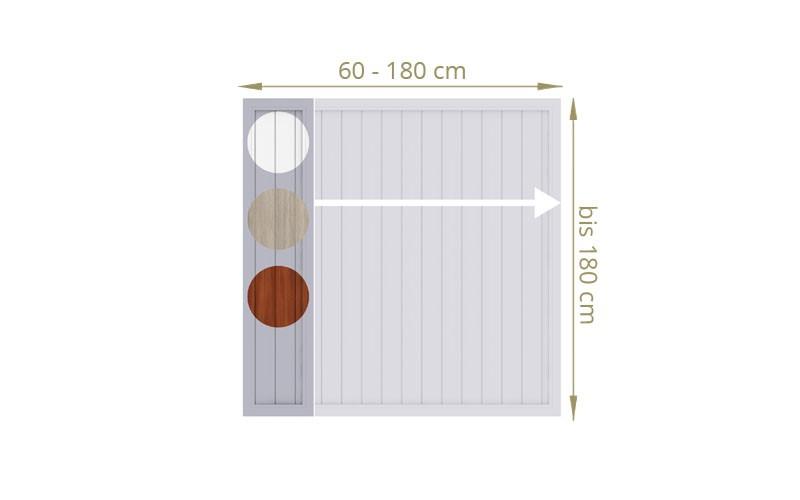TraumGarten Sichtschutzzaun Kunststoff Maßanfertigung Longlife Riva weiß/Nussbaum/polareiche