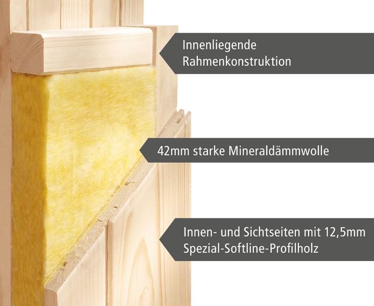Karibu Heimsauna Norin (Fronteinstieg) Ofen 9 kW Bio externe Strg easy mit Dachkranz 68 mm Systemsauna