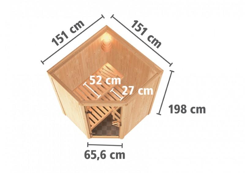 Karibu 68mm Systembausauna Larin Fronteinstieg mit Klarglas Saunatür - ohne Dachkranz