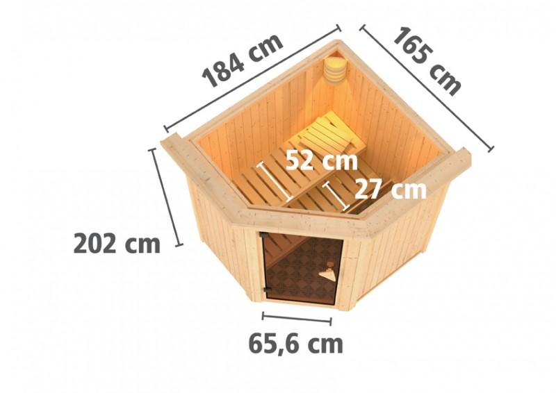 Karibu Heimsauna Taurin (Eckeinstieg) ohne Zubehör mit Dachkranz 68 mm Systemsauna