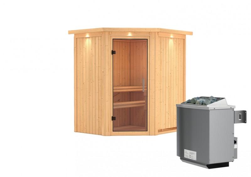Karibu Heimsauna Taurin (Eckeinstieg) Ofen 9 kW integr. Strg  mit Dachkranz 68 mm Systemsauna