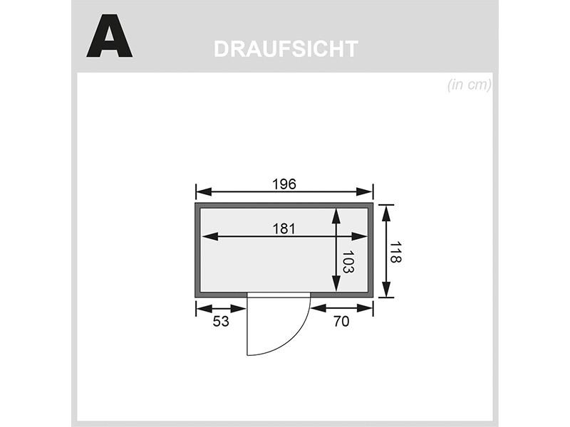 Karibu 68mm Systembausauna Variado - Fronteinstieg - Ganzglastür klar - ohne Dachkranz