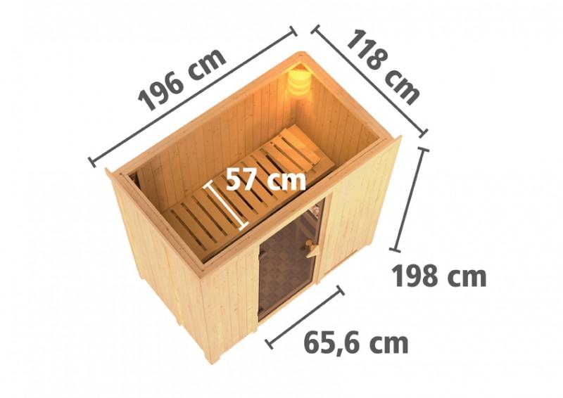Karibu Heimsauna Variado( Fronteinstieg) Ofen 9 kW externe Strg easy Kein Kranz 68 mm Systemsauna