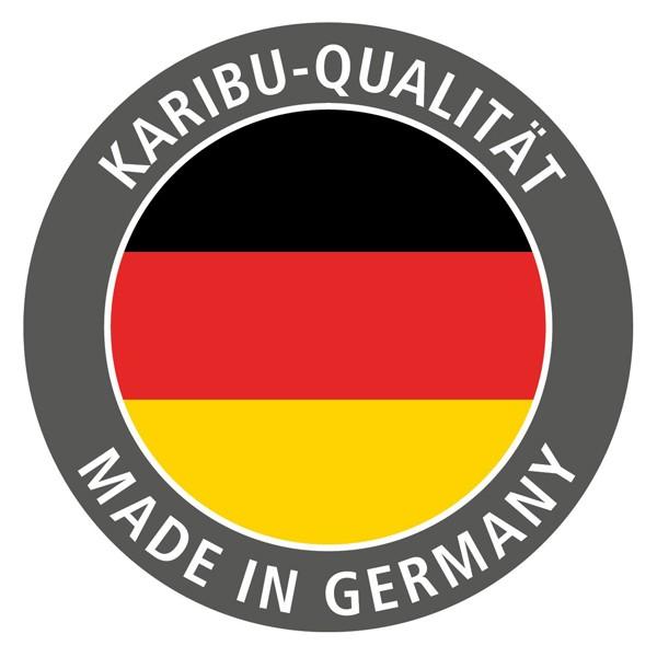 Karibu 68mm Systembausauna Variado Fronteinstieg mit Klarglas Glastüre - mit Dachkranz