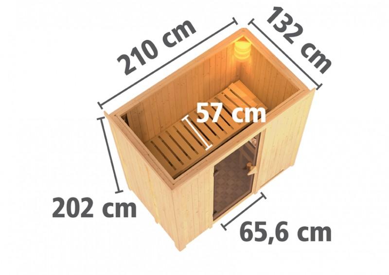 Karibu Heimsauna Variado( Fronteinstieg) Ofen 9 kW integr. Strg  mit Dachkranz 68 mm Systemsauna