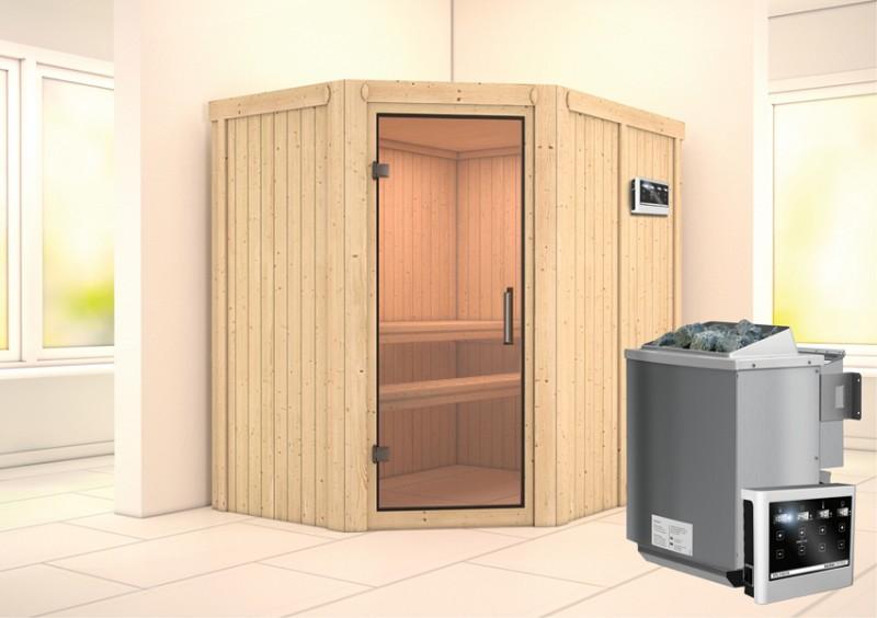 Karibu Heimsauna Carin (Eckeinstieg) Ofen 9 kW Bio externe Strg easy Kein Kranz 68 mm Systemsauna