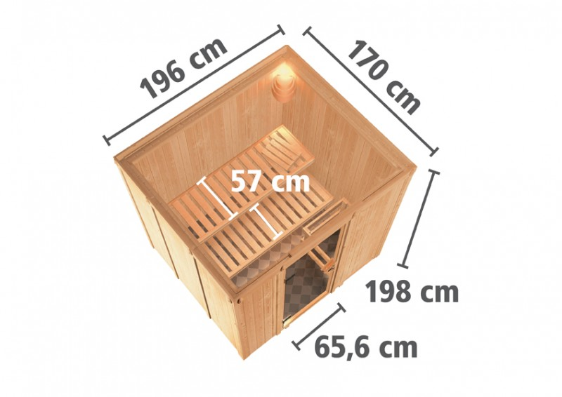 Karibu Heimsauna Sodin (Fronteinstieg)   Ofen 9 KW externe Strg easy Kein Kranz 68 mm Systemsauna