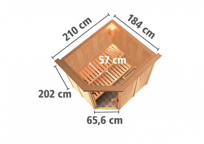 Karibu Heimsauna Siirin (Eckeinstieg) Ofen 9 kW Bio externe Strg easy mit Dachkranz 68 mm Systemsauna