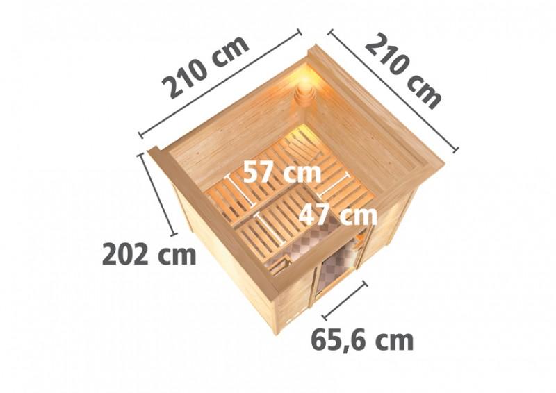 Karibu Heimsauna Rodin (Fronteinstieg) Ofen 9 kW integr. Strg  mit Dachkranz 68 mm Systemsauna