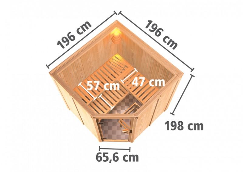 Karibu 68mm Systembausauna Jarin Eckeinstieg mit Klarglas Tür - ohne Dachkranz