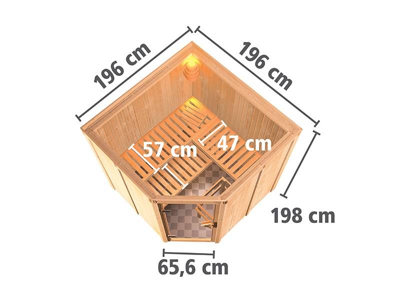 Karibu 68mm Systembausauna Jarin - Eckeinstieg - Ganzglastür klar - ohne Dachkranz