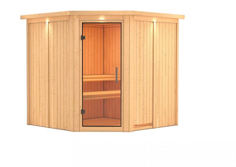 Karibu 68mm Systembausauna Jarin Eckeinstieg mit Klarglas Tür - mit Dachkranz