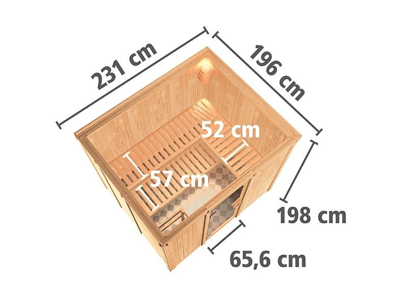 Karibu 68mm Systembausauna Gobin - Fronteinstieg - Ganzglastür klar - ohne Dachkranz - 9kW Saunaofen mit integr. Steuerung