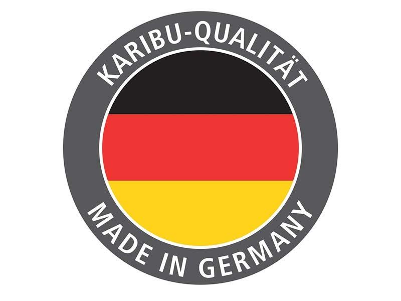 Karibu 68mm Systembausauna Gobin - Fronteinstieg - Ganzglastür klar - mit Dachkranz - 9kW Saunaofen mit integr. Steuerung