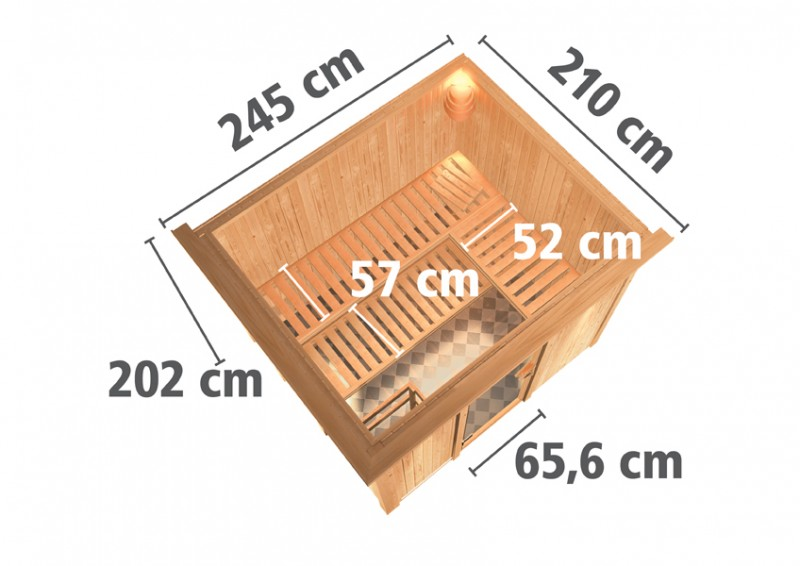 Karibu Heimsauna Gobin (Fronteinstieg)   Ofen 9 kW Bio externe Strg easy mit Dachkranz 68 mm Systemsauna