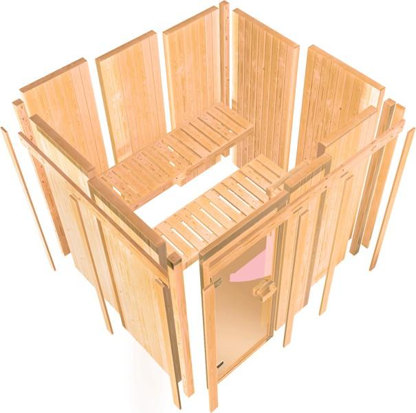 Karibu Heimsauna Malin (Eckeinstieg) Ofen 9 KW externe Strg easy mit Dachkranz 68 mm Systemsauna