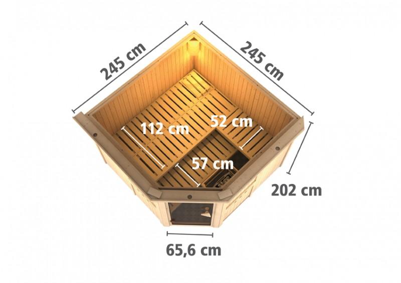Karibu Heimsauna Farin (Eckeinstieg) Ofen 9 kW integr. Strg  mit Dachkranz 68 mm Systemsauna