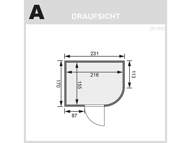 Karibu 68mm Systembausauna Titania 4 - Fronteinstieg - Ganzglastür klar - abgerundete Ecke - 9kW Saunaofen mit externer Steuerung Easy