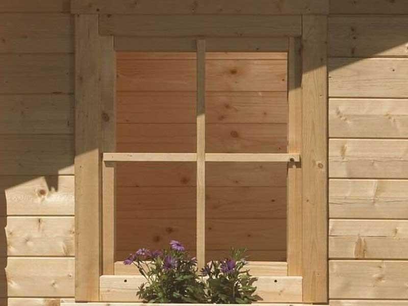 Karibu Holz-Fenster für 38/40 mm Wandstärke gerades Fenster ( 28mm inkl Umrüstleise als Set) naturbelassen