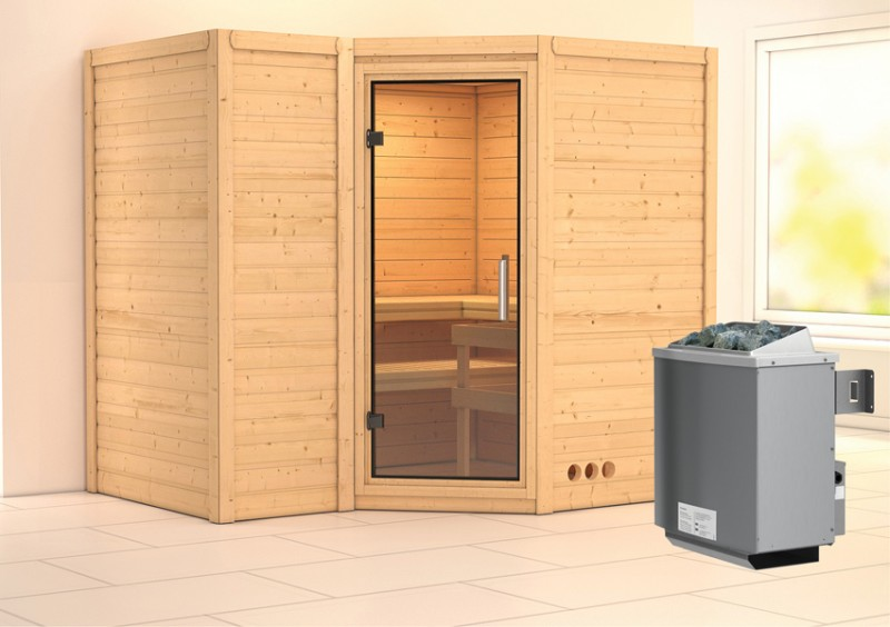 Karibu Heimsauna Sahib 2 (Eckeinstieg) Ofen 9 kW integr. Strg  Kein Kranz 40 mm Massivholzsauna