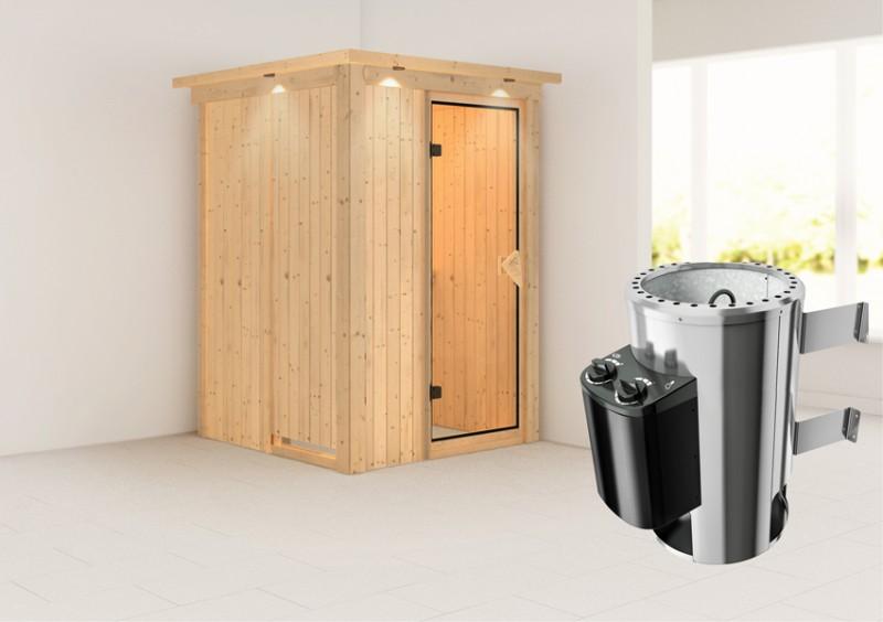 Karibu Heimsauna Lenja( Fronteinstieg) Ofen 3,6 kW intgr. Strg   mit Dachkranz Plug & Play 230Volt Sauna