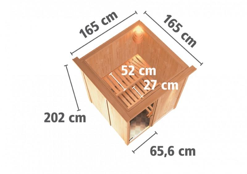 Karibu Plug & Play Systemsauna 68mm Minja mit Fronteinstieg und Klarglas Tür - mit Dachkranz