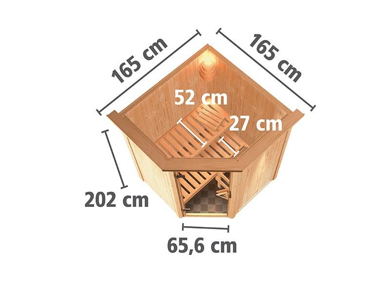 Karibu 68mm Systemsauna Nanja - Plug&Play - Eckeinstieg - Energiespartür - mit Dachkranz
