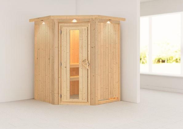 Karibu Plug & Play Systemsauna 68mm Nanja mit Eckeinstieg und Energiesparender Tür - mit Dachkranz