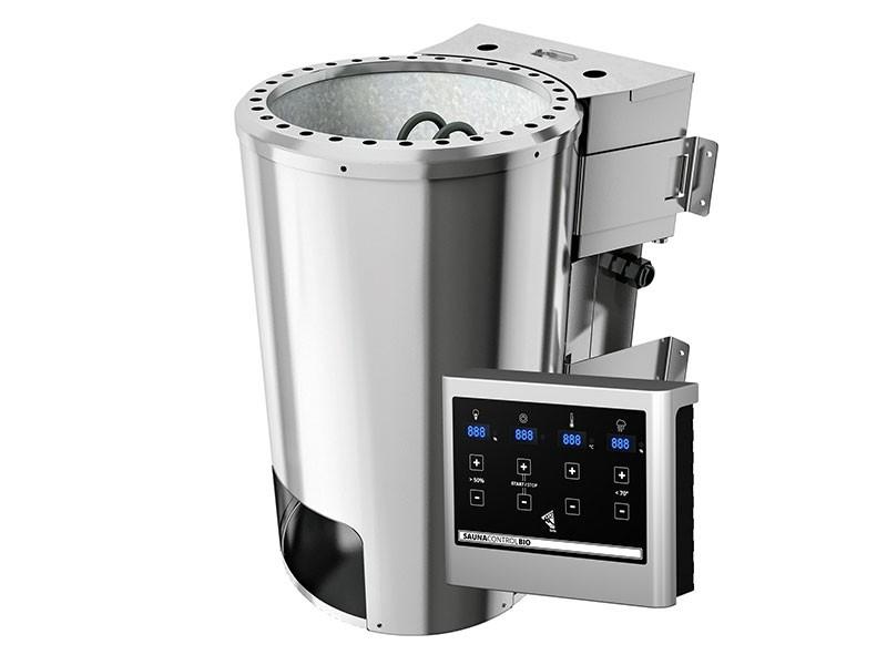 Karibu 68mm Systemsauna Nanja - Plug&Play - Eckeinstieg - Energiespartür - mit Dachkranz - 3,6kW Plug&Play Bio-Kombiofen mit externer Steuerung Easy Bio
