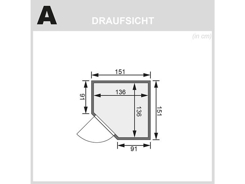 Karibu 68mm Systemsauna Nanja - Plug&Play - Eckeinstieg - Ganzglastür graphit - ohne Dachkranz - 3,6kW Plug&Play Saunaofen mit externer Steuerung Easy