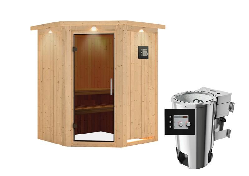 Karibu Heimsauna Nanja ( Eckeinstieg) Ofen 3,6 kW Bio-Ofen externe Strg. modern mit Dachkranz Plug & Play 230Volt Sauna