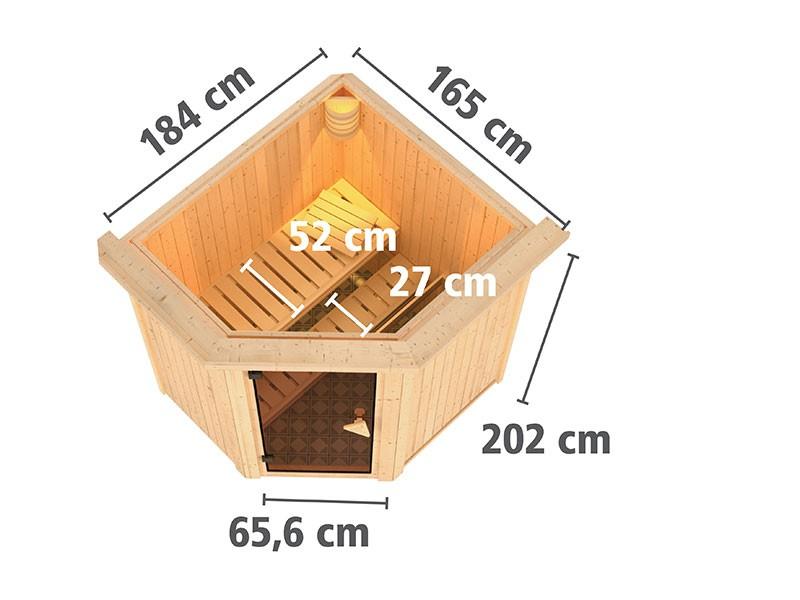 Karibu 68mm Systemsauna Tonja - Plug&Play - Eckeinstieg - Ganzglastür klar - mit Dachkranz - 3,6kW Plug&Play Saunaofen mit externer Steuerung Easy