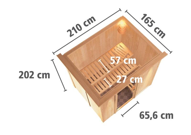 Karibu Heimsauna Fanja (Fronteinstieg)   ohne Zubehör mit Dachkranz Plug & Play 230Volt Sauna