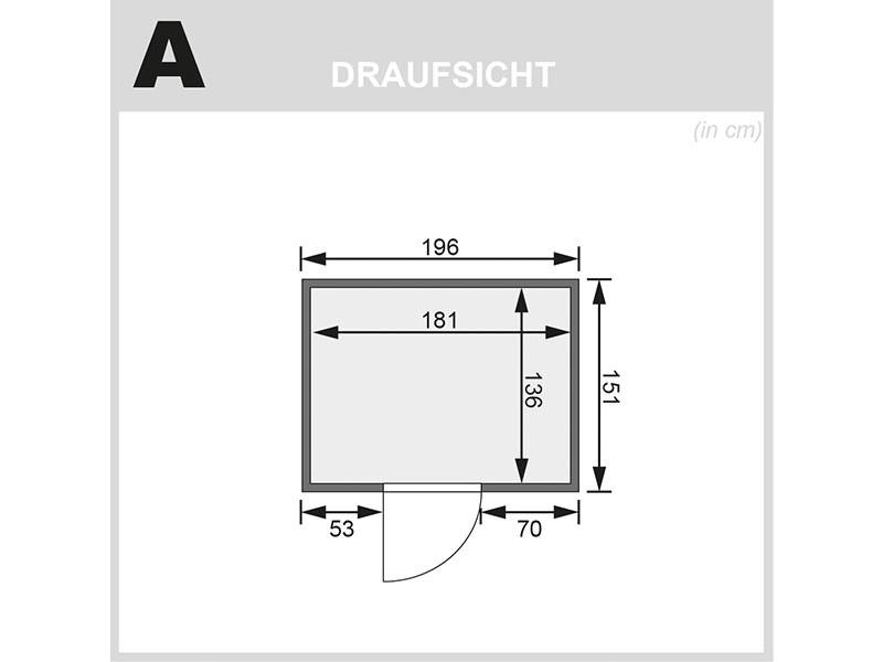 Karibu 68mm Systemsauna Fanja - Plug&Play - Fronteinstieg - Ganzglastür graphit - ohne Dachkranz - 3,6kW Plug&Play Saunaofen mit integr. Steuerung