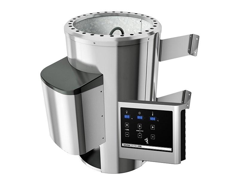 Karibu 68mm Systemsauna Fanja - Plug&Play - Fronteinstieg - Ganzglastür graphit - ohne Dachkranz - 3,6kW Plug&Play Saunaofen mit externer Steuerung Easy