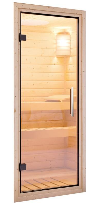 Karibu Plug & Play Systemsauna 68mm Fanja mit Fronteinstieg und Klarglas Tür - mit Dachkranz