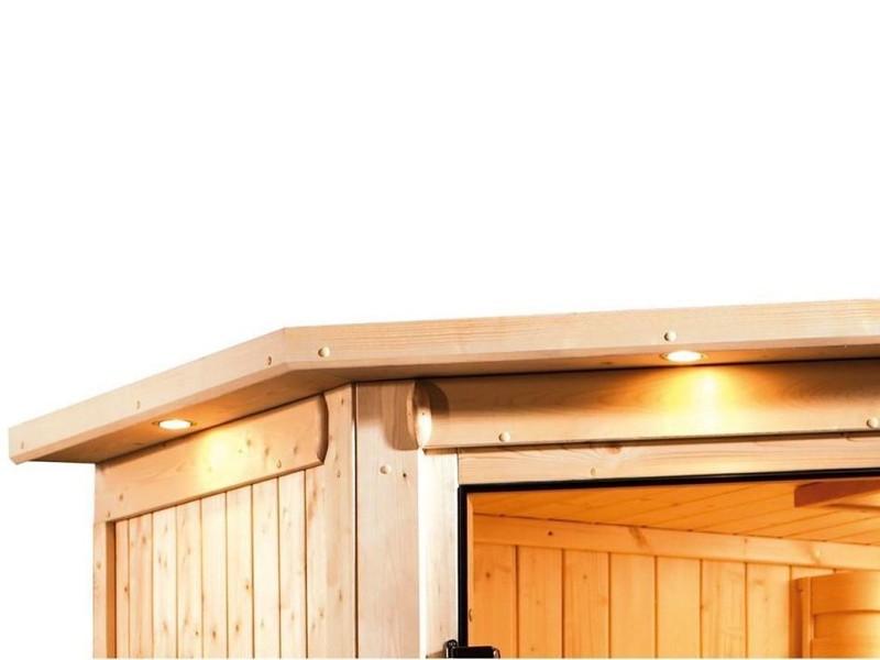 Karibu Plug & Play Systemsauna 68mm Saja mit Eckeinstieg und Energiesparender Tür - mit Dachkranz