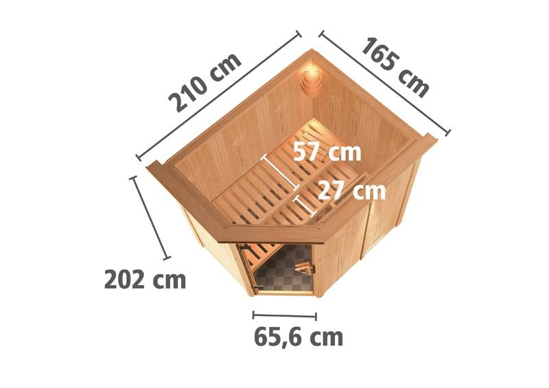Karibu Plug & Play Systemsauna 68mm Saja mit Eckeinstieg und Graphit Tür - mit Dachkranz