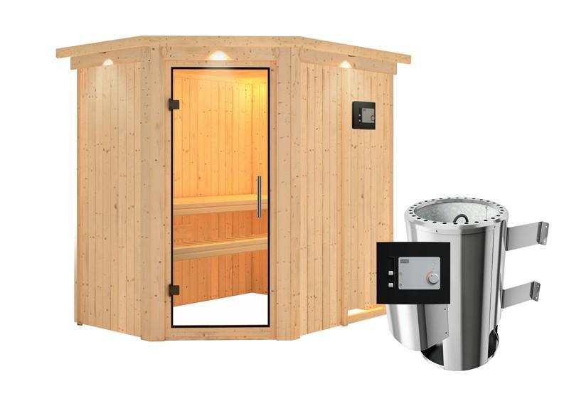 Karibu Heimsauna Saja (Eckeinstieg) Ofen 3,6 kW externe Strg.modern mit Dachkranz Plug & Play 230Volt Sauna