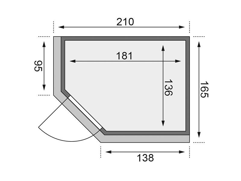 Karibu 68mm Systemsauna Saja - Plug&Play - Eckeinstieg - Ganzglastür klar - mit Dachkranz - 3,6kW Plug&Play Bio-Kombiofen mit externer Steuerung Easy Bio