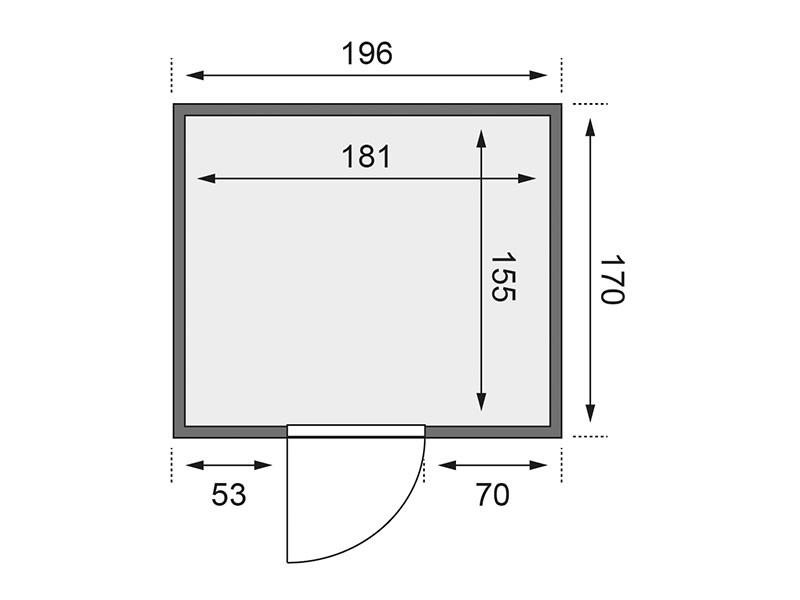 Karibu 68mm Systemsauna Daria - Plug&Play - Fronteinstieg - Ganzglastür klar - ohne Dachkranz - 3,6kW Plug&Play Saunaofen mit integr. Steuerung