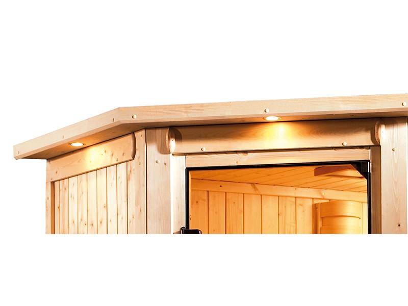Karibu 68mm Systemsauna Lilja - Plug&Play - Eckeinstieg - Energiespartür - mit Dachkranz - 3,6kW Plug&Play Saunaofen mit integr. Steuerung