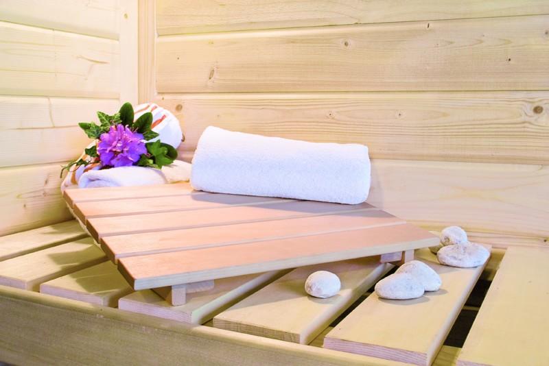 Karibu Heimsauna Lilja (Eckeinstieg) ohne Zubehör mit Dachkranz Plug & Play 230Volt Sauna