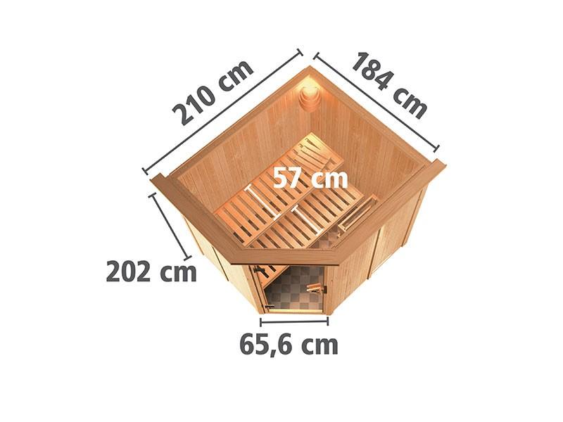 Karibu 68mm Systemsauna Lilja - Plug&Play - Eckeinstieg - Ganzglastür graphit - mit Dachkranz